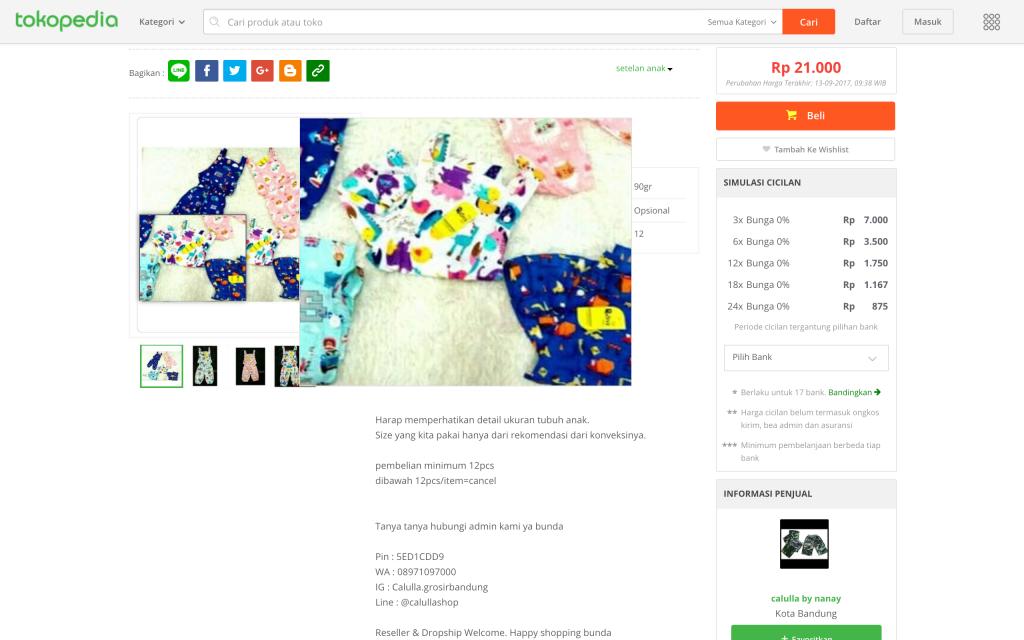 Contoh: Toko Baju Anak Di Tokopedia