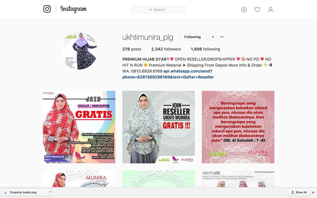 Contoh Salah Satu Reseller Jilbab Munira di Instagram